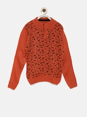 YK Boys Orange Printed Sweater