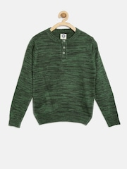 YK Boys Green Henley Sweater