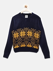 YK Boys Navy Blue Self-Design Sweater