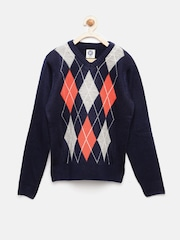 YK Boys Navy Blue & Grey Self-Designed Sweater