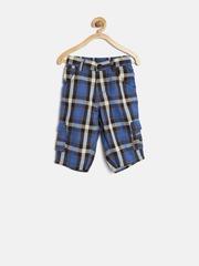 Gini & Jony Boys Blue & Off-White Checked 3/4th Shorts