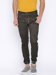 Roadster Men Brown Washed Regular Fit Jogger Trousers