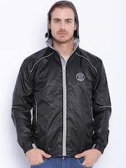 Sports52 wear Black Comfort Fit Hooded Rain Jacket