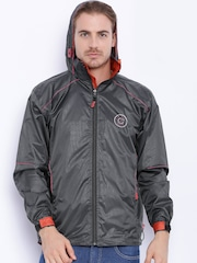 Sports52 wear Charcoal Grey Printed Hooded Rain Jacket
