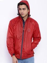 Sports52 wear Red Comfort Fit Hooded Rain Jacket