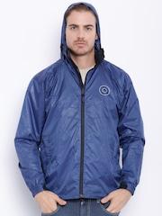 Sports52 wear Blue Printed Hooded Rain Jacket