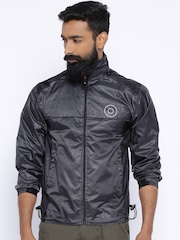 Sports52 Wear Black Comfort Fit Hodded Rain Jacket