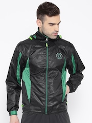 Sports52 wear Black & Green Printed Hooded Rain Jacket
