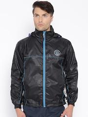 Sports52 wear Black Printed Comfort Fit Rain Jacket