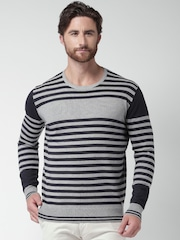 Mast & Harbour Black & Grey Striped Sweater