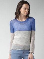 Mast & Harbour Blue & Grey Melange Colourblocked Sweater