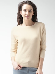 Mast & Harbour Women Beige Round Neck Sweater