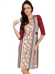 109F Maroon & Off-White Printed A-Line Dress