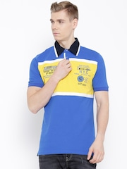 Fort Collins Blue Colourblocked Polo T-shirt