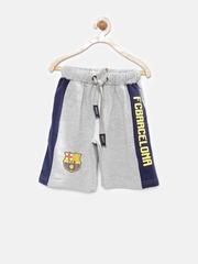 Barcelona Boys Grey Melange & Navy Printed Shorts