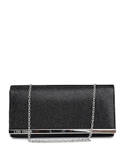 Lisa Haydon for Lino Perros Black Textured Shimmer Clutch with Chain Strap