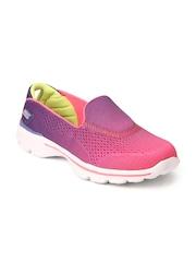 Skechers Girls Pink & Purple Go Walk 3 Walking Shoes