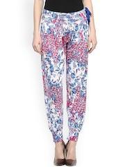 Sakhi Sang Blue & Pink Floral Print Harem Pants