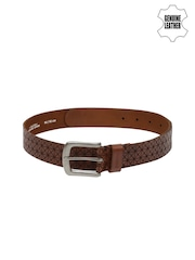 Ruosh Men Brown Textured Genuine Leather Belt