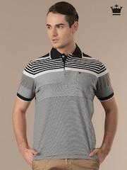 Louis Philippe White & Black Striped Polo T-shirt