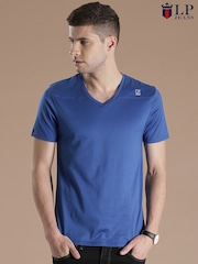 Louis Philippe Jeans Blue Printed T-shirt