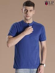 Louis Philippe Jeans Blue Henley T-shirt