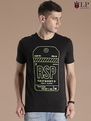 Louis Philippe Jeans Black Printed T-shirt