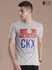 Louis Philippe Jeans Grey Melange Printed T-shirt
