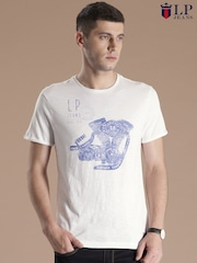 Louis Philippe Jeans White Printed T-shirt