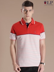 Louis Philippe Sport Red & White Striped Polo T-shirt