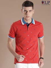 Louis Philippe Sport Red Embroidered Polo T-shirt