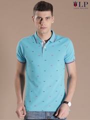 Louis Philippe Sport Blue Embroidered Slim Fit Polo T-shirt
