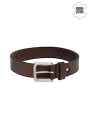 Louis Philippe Jeans Men Brown Genuine Leather Belt