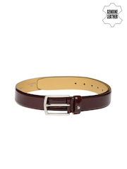 Louis Philippe Men Burgundy Genuine Leather Belt