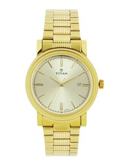 Titan Men Gold-Toned Dial Watch 1712YM03