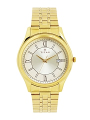 Titan Men Gold-Toned Dial Watch 1713YM03