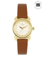 Titan Women Beige Patterned Dial Watch 2534YL04