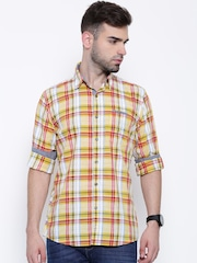Wrangler Yellow & Red Checked Casual Shirt