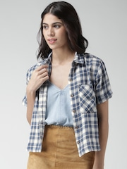 FOREVER 21 Teal Blue Checked Casual Shirt