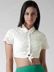 FOREVER 21 Off-White Schiffli Embroidered Crop Shirt
