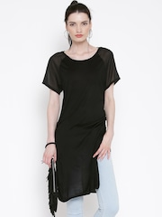 FOREVER 21 Black Sheer Sleeves Longline Tunic