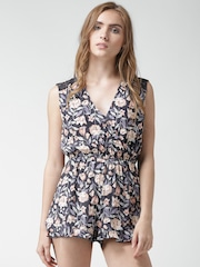 FOREVER 21 Charcoal Grey Floral Print Playsuit