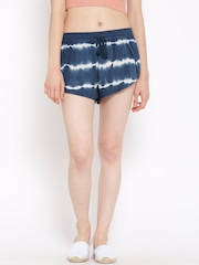 FOREVER 21 Women Navy & White Tie-Dyed Shorts