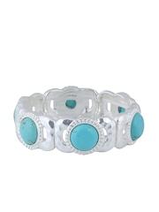 Thingalicious Silver-Toned & Turquoise Blue Bracelet
