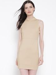 FOREVER 21 Beige Panelled Sheath Dress