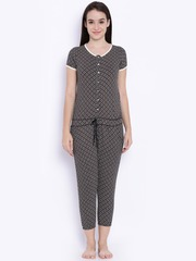 SDL by Sweet Dreams Black & White Printed Lounge Jumpsuit 211916