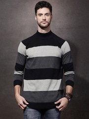 Roadster Men Black & Grey Colourblock Sweater