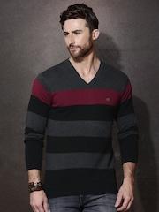 Roadster Men Black & Charcoal Grey Striped Sweater