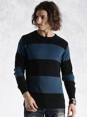 Roadster Black & Blue Striped Sweater
