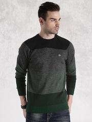 Roadster Black & Green Striped Sweater